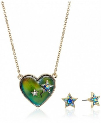 Betsey Johnson Womens Multicolor and Gold Heart Mood Set - Multi - CH185UTQTA2