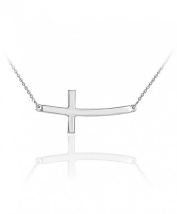 925 Sterling Silver Curved Sideways Cross Necklace with Rolo Chain - CJ11DXJFF2F