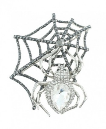 EVER FAITH Austrian Crystal Halloween Gothic Style Spider Web Teardrop Brooch - Clear Gold-Tone - C411CHAVZNN