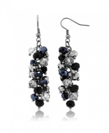 "2"" Black and Silver Cluster Faceted Crystal Dangle Hook Earrings For Women - CP117IX1747"