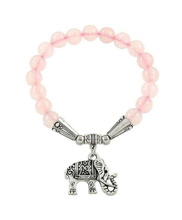Falari Elephant Lucky Charm Natural Stone Bracelet Rose Quartz B2448-RQ - CY124HGM91R