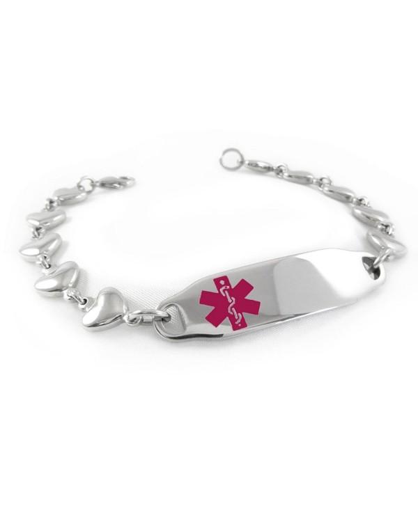 MyIDDr - Pre-Engraved & Customized Ladies Epilepsy Medical ID Bracelet- Heart Chain - C811BUVK94R