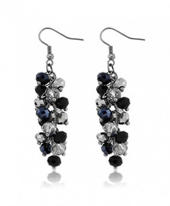 Silver Cluster Faceted Crystal Earrings