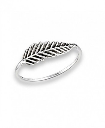 Oxidized Feather Ring New 925 Sterling Silver Detailed Tree Leaf Band Sizes 2-8 - CA1833R9WAX