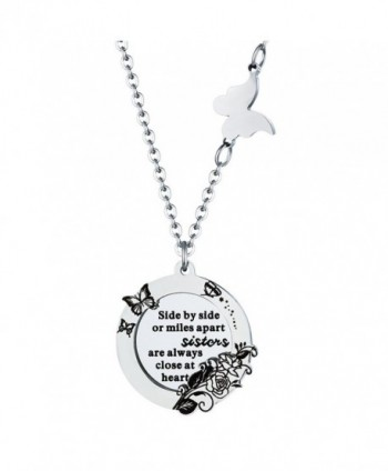 Best Friend Necklace Side By Side or Miles Apart Sister Friendship Gifts for Women Girls - CA189XQ0MGE