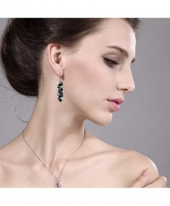 Silver Cluster Faceted Crystal Earrings in Women's Drop & Dangle Earrings