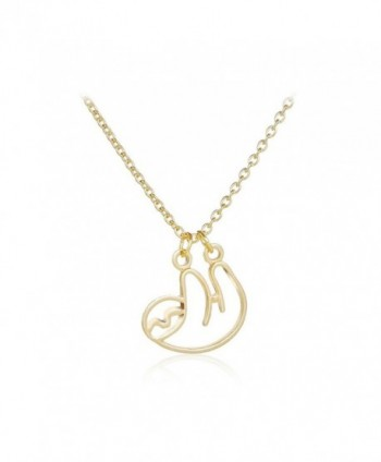 3 Colors Hollow Snail Necklace - Cute Sloth Pendant Jewelry Charm Animal Necklace for Women - gold - CV188XQZOMK