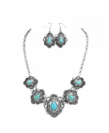 Rosemarie Collections Women's Boho Chic Turquoise Statement Necklace Earrings Set - CY17YGIE4EC