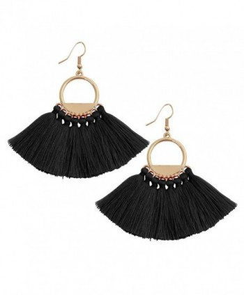 Bohemia Ethnic Tassels Earrings Fan Shape Tribal Fringe Boho Eardrop White Red Blue Black - Black - CM184SC6OU7