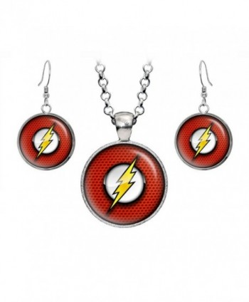 Flash Pendant Necklace- Flash Earrings- DC Comics Jewelry- Justice League Necklace- Birthday Gift Set - CH12CRJ6JCL