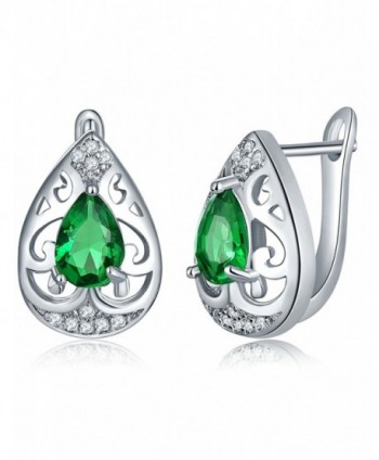 My Precious Love Cubic Zirconia Heart Stud Earring Simulated Diamond Birthstone Earrings - GREEN - C7186X8MA3Q