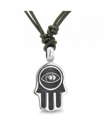 Amulet Evil Eye Reflection Hamsa Hand Lucky Charm Pendant Necklace Leather Cord Pendant Necklace - CQ11M2XM4PT