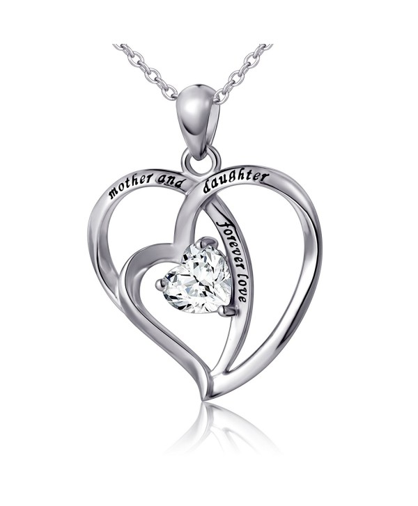 "925 Sterling Silver Cubic Zirconia Love Heart Engraved Necklace for Women- 18"" - C517YX86M7C"