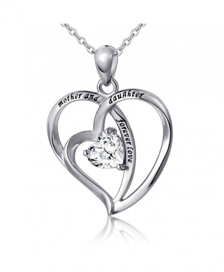 """925 Sterling Silver Cubic Zirconia Love Heart Engraved Necklace for Women- 18"""" - C517YX86M7C"""