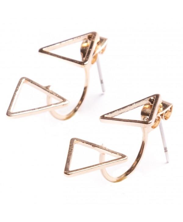 Ear Jackets Earrings in Gold | Delicate Triangle Ear Studs nickel free - C812E52EX4T