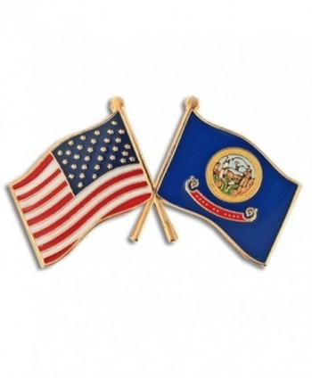 PinMart's Idaho and USA Crossed Friendship Flag Enamel Lapel Pin - CA119PEM20Z