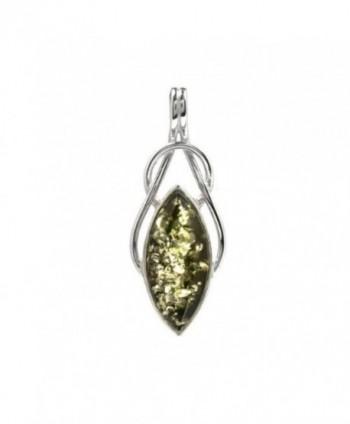 Black Green Amber Sterling Silver Drop Celtic Pendant - CS115OR5G5F