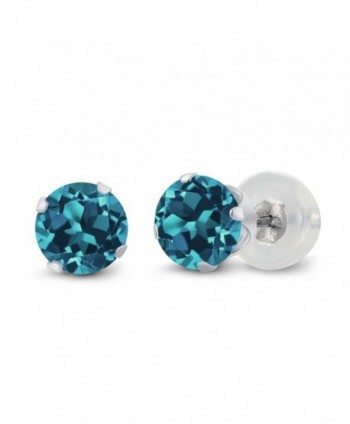 1.10 Ct Round London Blue Topaz 10K White Gold 4-prong Stud Earrings 5mm - CB1191KNKXL
