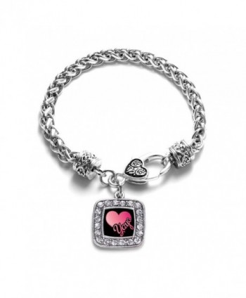 Yaya Classic Silver Plated Square Crystal Charm Bracelet - CU11KY4ULGR