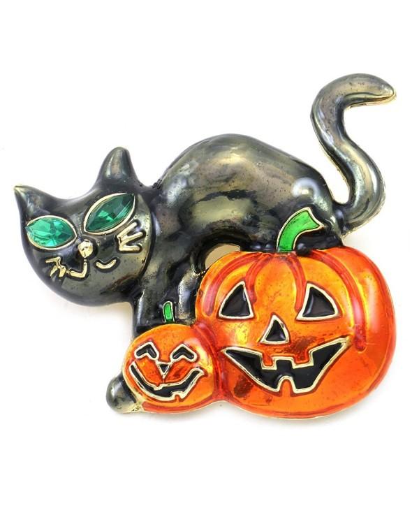 Happy Halloween Party Event Black Cat Kitty Kitten Jack O Lantern Pumpkin Brooch Pin Costume Charm - C211PBXX6QN