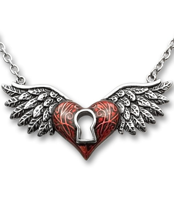 CONTROSE Angel Wings Heart Necklace Red With Keyhole 316L Stainless Steel - C312GK5CUIZ