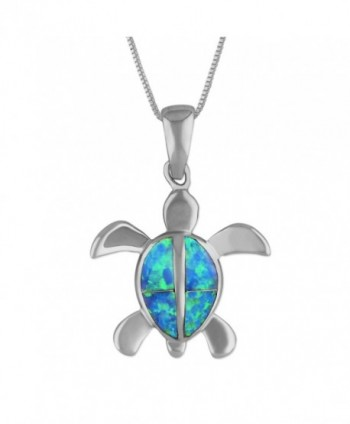 "Sterling Silver Synthetic Blue Opal 7/8 Inch Turtle Pendant Necklace- 16+2"" Extender - CJ113ZSP5BP"