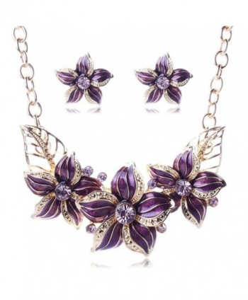 BIBITIME Women Plated Oil Drip Rhinestone Alloy Flower Bib Necklace Earring Sets - Purple - CU12DH7BKTT