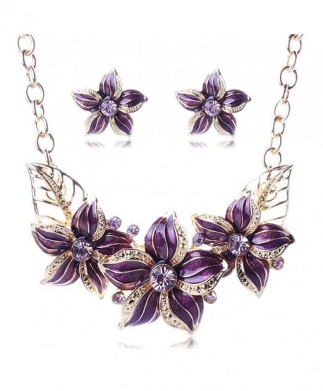 BIBITIME Women Plated Oil Drip Rhinestone Alloy Flower Bib Necklace Earring Sets - Purple - CU12DH7BKTT