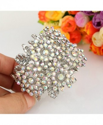 EVER FAITH Silver Tone Snowflake Iridescent in Women's Cuff Bracelets