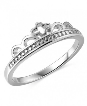 JEWME 925 Sterling Silver Women Victorian Cross Princess Royal Crown Band Ring - CU12G33P7JD