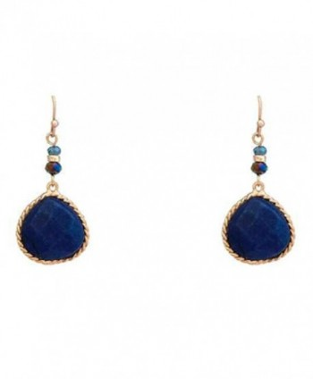 Rosemarie Collections Women's Semi Precious Stone Teardrop Dangle Earrings - Navy Blue - CF182T8KLXU