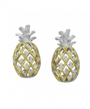 Sterling Silver with 14kt Yellow Gold Plated Accents Pineapple Stud Earrings - C31152JQQ5T