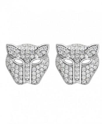 EVER FAITH Women's 925 Sterling Silver Zircon Fashion Leopard Head Stud Earrings Clear - CI12LIRLO9B