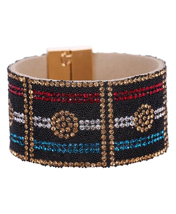 SANWOOD Lady's Faux Leather Rhinestone Wide Bangle Magnetic Buckle Bracelet Fashion Jewelry (Red & Blue) - CM17YLGLH32