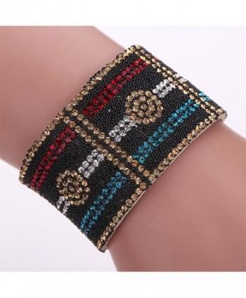 SANWOOD Leather Rhinestone Magnetic Bracelet