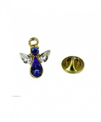 6030617 September Crystal Birth Month Angel Pin Guardian Lapel Brooch Tie Tack - CF12CJ5A9I7