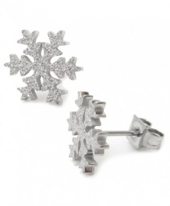 Stainless Steel Snow Flake Post Stud Earrings For Women Girls Gold Silver 10mm - Sandblast Silver - CQ180GH3LDH