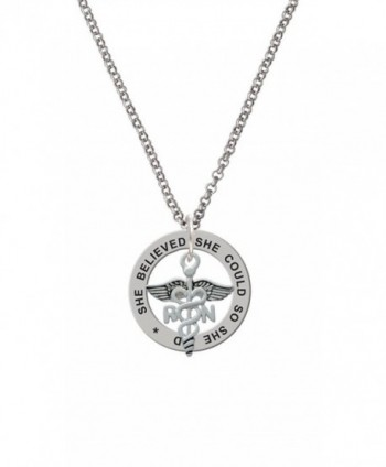 Registered Nurse Caduceus She Believed She Could Affirmation Ring Necklace - C3129U3UMRZ