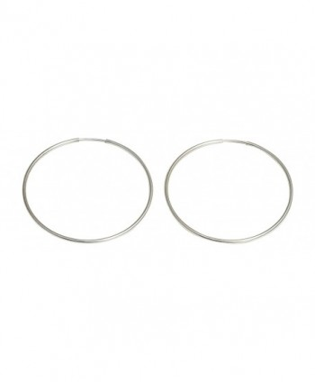 Medium Continuous Endless Silver Wire Hoop Earrings- 1.5 in (40mm) (1mm Tube) - CH11DFV7SXF