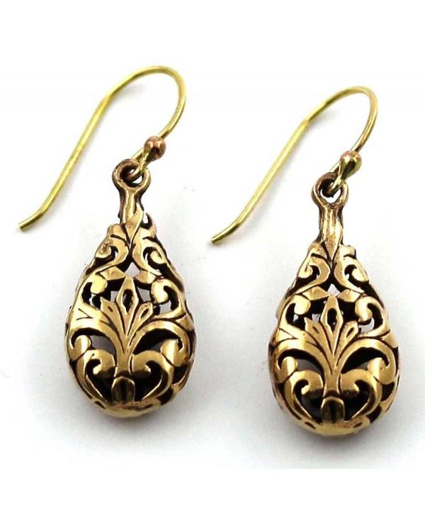 Bronze Vine Filigree Teardrop Shaped Drop Dangle Earrings Fish Hook Thailand Jewelry - CN12BZD2CYT