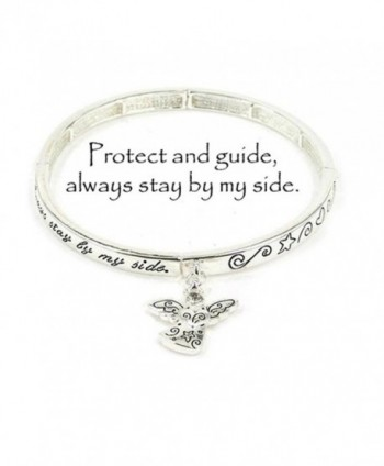 Silvertone Guardian Angel Stretch Bracelet with Angel Charm - C912DX3RF1J