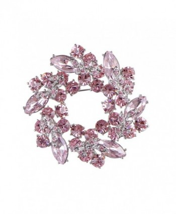 Alilang Womens Diamond Inspired Floral Wreath Holiday Christmas Old Fashion Brooch Pin - Pink - CL1808UL6YS