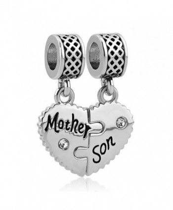 LilyJewelry Mom Mother Son Love Heart Charm Beads For Snake Chain Bracelet - CK17YL7RAA4