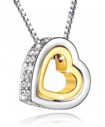 "Saint Koronie ""Love You Forever"" Austria Crystal Pendant Necklace - Gold - C512G7T70IT"