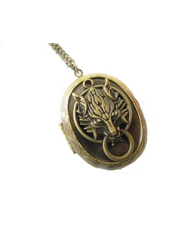 Bronze Wolf Head Brass Picture Photo Locket Charm Pendant Chain Necklace - CH128JWFWBJ