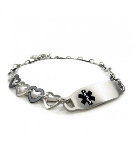MyIDDr - Pre-Engraved & Customizable Women's Diabetic Medical Bracelet Steel / Black Hearts - C011HUDP2UZ