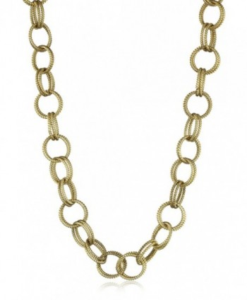 "Betsey Johnson Gold-Tone Textured Chain-Link Long Necklace- 36"" - CA1124Z4RY1"