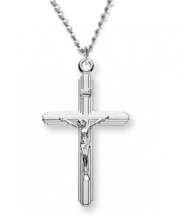 Heartland Women's Sterling Silver Crucifix with Cross on Cross Pendant + USA Made + Chain Choice - C6119PYIHXL