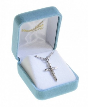 Womens Sterling Crucifix Pendant Rhodium