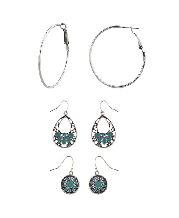 Lux Accessories Boho Burnish Silvertone Filagree Dangle Hoop Multi Earring Set 3PC - C612LHJJV27